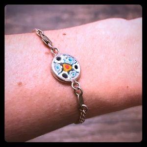 Millefiori Venetian glass sterling silver bracelet
